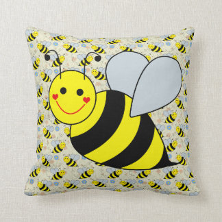 Cute Bumble Bee Throw Pillow