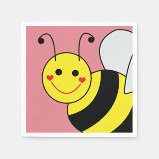 Cute Bumble Bee Pink Napkin