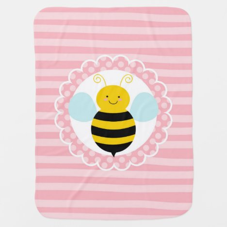 Cute Bumble Bee - Pink Yellow Baby Blanket