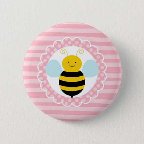 Cute Bumble Bee - Pink Yellow Button