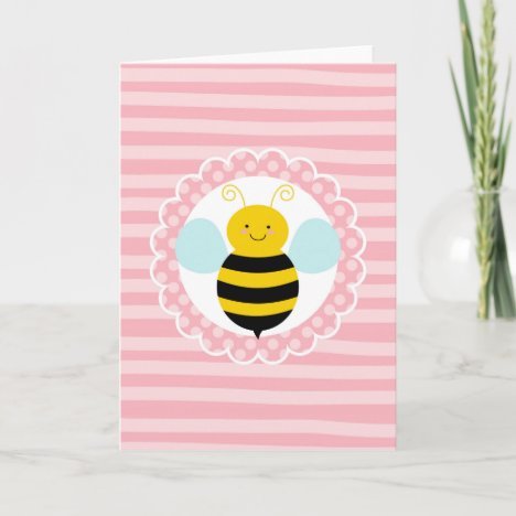 Cute Bumble Bee - Pink Yellow Card
