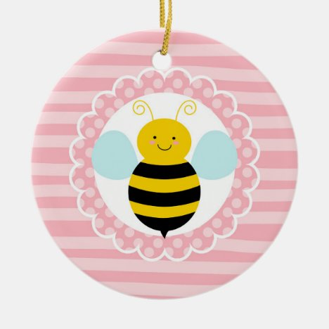 Cute Bumble Bee - Pink Yellow Ceramic Ornament