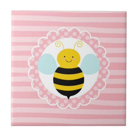 Cute Bumble Bee - Pink Yellow Ceramic Tile
