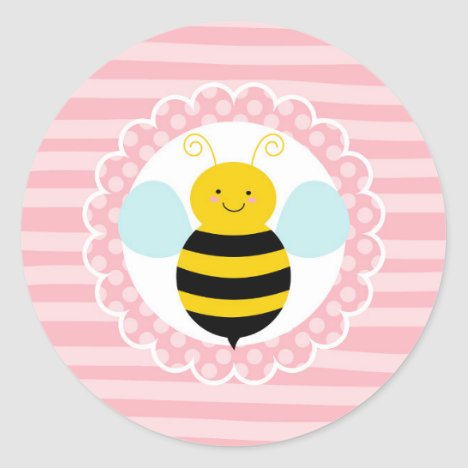 Cute Bumble Bee - Pink Yellow Classic Round Sticker