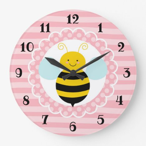 Cute Bumble Bee - Pink Yellow Large Clock
