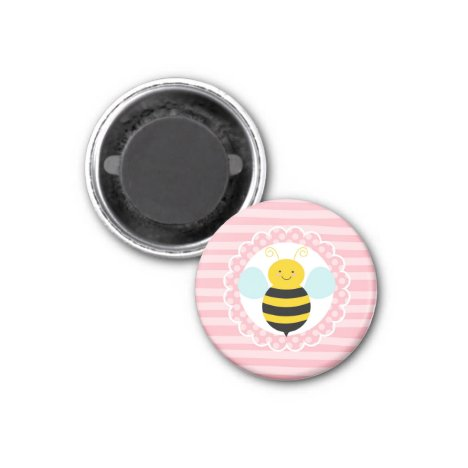 Cute Bumble Bee - Pink Yellow Magnet