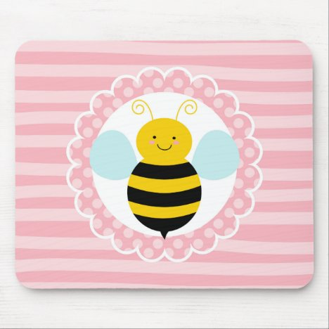 Cute Bumble Bee - Pink Yellow Mouse Pad