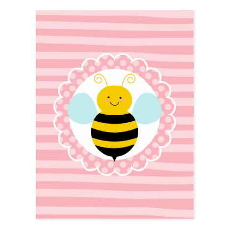 Cute Bumble Bee - Pink Yellow Postcard