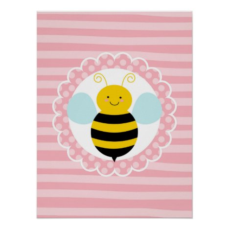 Cute Bumble Bee - Pink Yellow Poster
