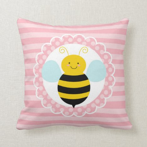Cute Bumble Bee - Pink Yellow Throw Pillow