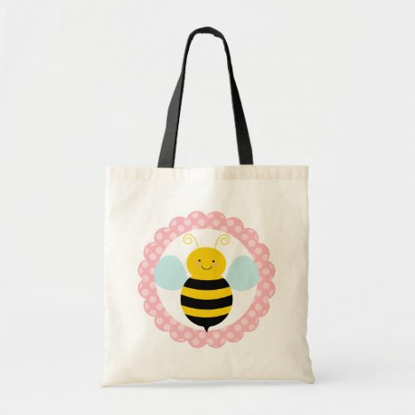 Cute Bumble Bee - Pink Yellow Tote Bag