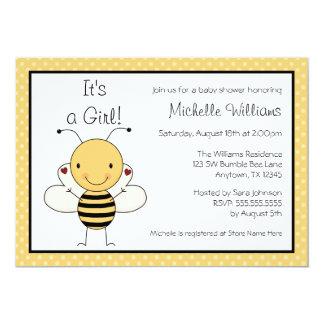 Cute Bumble Bee Polka Dot Baby Shower 5x7 Paper Invitation Card