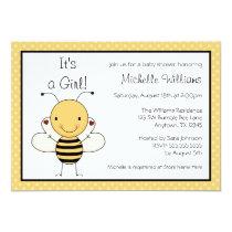 Cute Bumble Bee Polka Dot Baby Shower Invitation