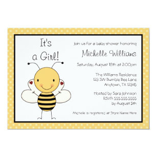 Bumble bee baby shower invitations announcements zazzle cute bumble bee polka dot baby shower invitation filmwisefo