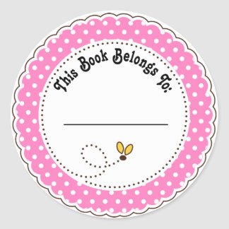 Cute Bumble Bee Reading Bookplates Classic Round Sticker