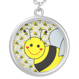 Cute Bumble Bee Round Pendant Necklace