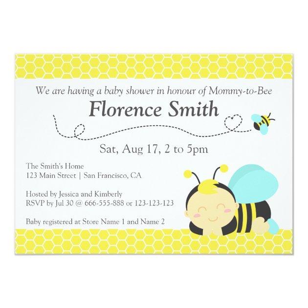 Cute Bumble Bee Theme, Boy Baby Shower Card