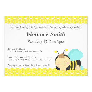 Cute Bumble Bee Theme, Boy Baby Shower Announcement