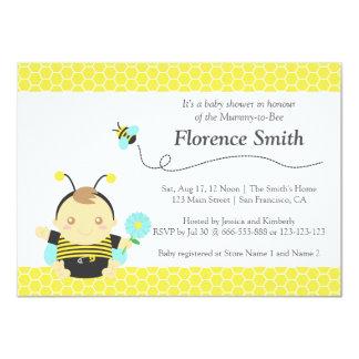 "Cute Bumble Bee Theme, Boy Baby Shower 4.5"" X 6.25"" Invitation Card"