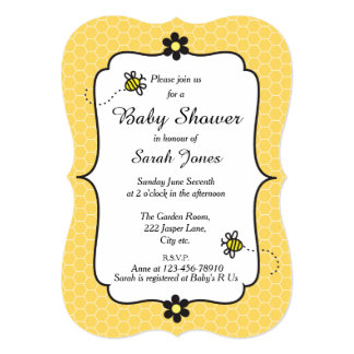 Cute Bumble Bee Themed Baby Shower Invitation