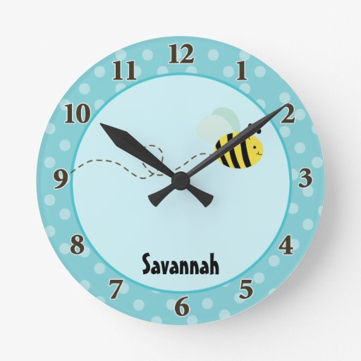 Cute Bumble Bee Wall Clock Add a Name (Blue)