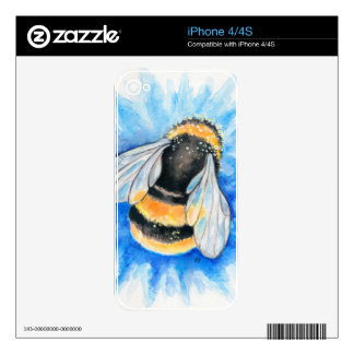 Cute Bumble Bee Watercolor Art Decal For The iPhone 4