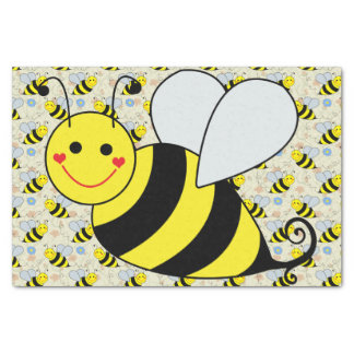 "Cute Bumble Bee with Pattern 10"" X 15"" Tissue Paper"