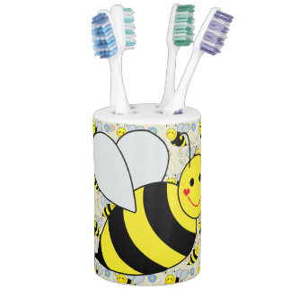 Cute Bumble Bee With Pattern Bathroom Set