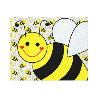Cute Bumble Bee with Pattern Canvas Print