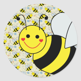 Cute Bumble Bee with Pattern Classic Round Sticker
