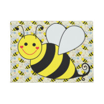 Cute Bumble Bee with Pattern Doormat