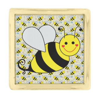 Cute Bumble Bee with Pattern Gold Finish Lapel Pin