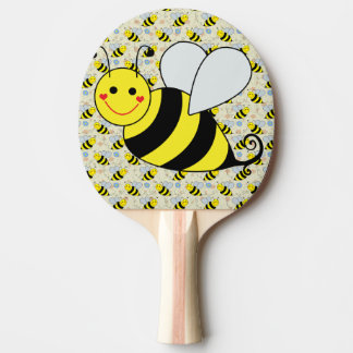 Cute Bumble Bee with Pattern Ping-Pong Paddle