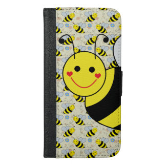 Cute Bumble Bee with Pattern iPhone 6/6s Plus Wallet Case