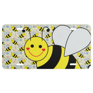 Cute Bumble Bee with Pattern License Plate