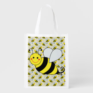 Cute Bumble Bee with Pattern Market Tote
