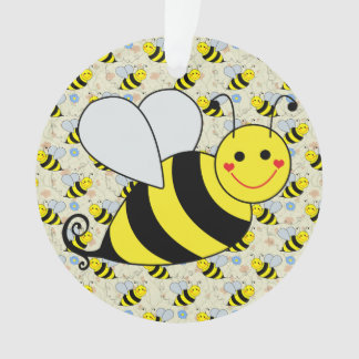 Cute Bumble Bee With Pattern Ornament