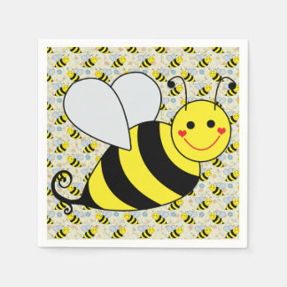 Cute Bumble Bee with Pattern Paper Napkin