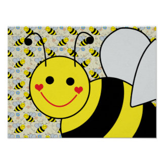 Cute Bumble Bee with Pattern Poster