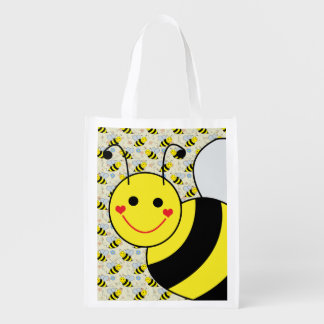 Cute Bumble Bee with Pattern Reusable Grocery Bag
