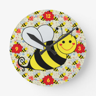 Cute Bumble Bee with Pattern Round Clock