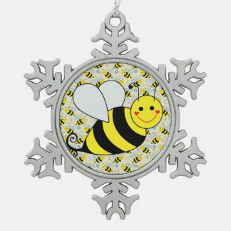 Cute Bumble Bee With Pattern Snowflake Pewter Christmas Ornament