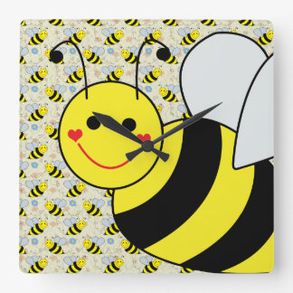 Cute Bumble Bee with Pattern Square Wall Clock