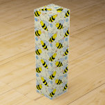 """Cute Bumble Bee with Pattern Wine Gift Box<br><div class=""""desc"""">A big yellow and black bumble bee with a bee pattern with some flowers,  hearts,  swirls,  twirls,  and bee trails.</div>"""