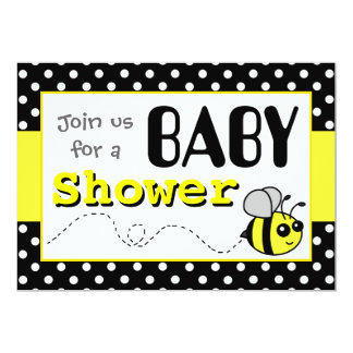 Cute Bumble Bee Yellow and Black Baby Shower Personalized Announcements