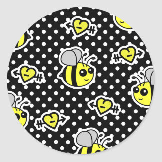 Cute Bumble Bee Yellow and Black Polka Dot Classic Round Sticker