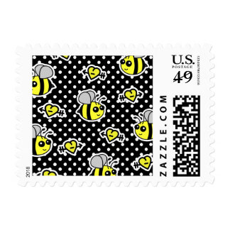Cute Bumble Bee Yellow and Black Polka Dot Postage Stamps