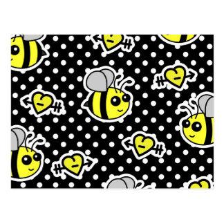 Cute Bumble Bee Yellow and Black Polka Dot Postcard