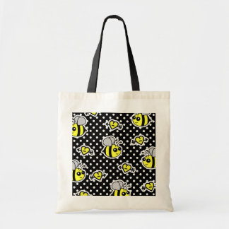 Cute Bumble Bee Yellow and Black Polka Dot Tote Bag