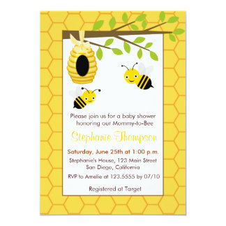 Cute Bumble Bees Baby Shower Invitations